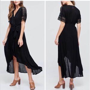Dresses & Skirts - JUST IN! ⭐️💕Black Hi-Lo Lace Trim Tie Dress!